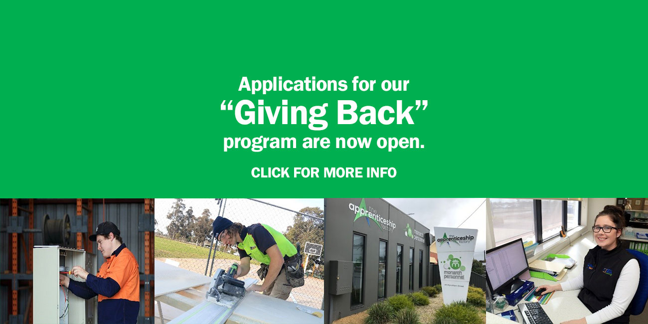 "Applications for our ""Giving Back"" program are now open. CLICK FOR MORE INFO"